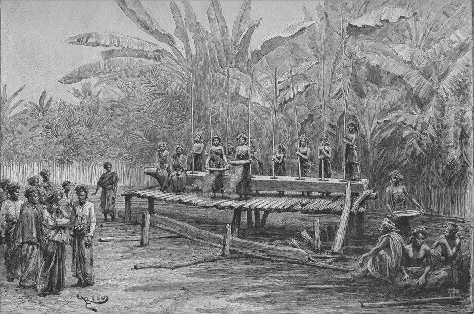 Menumbuk padi. Dari buku Un an en Malaisie (1889-1890) oleh Jules Claine.