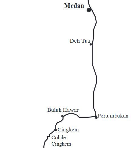 Peta perjalanan dari Medan menuju Cingkem