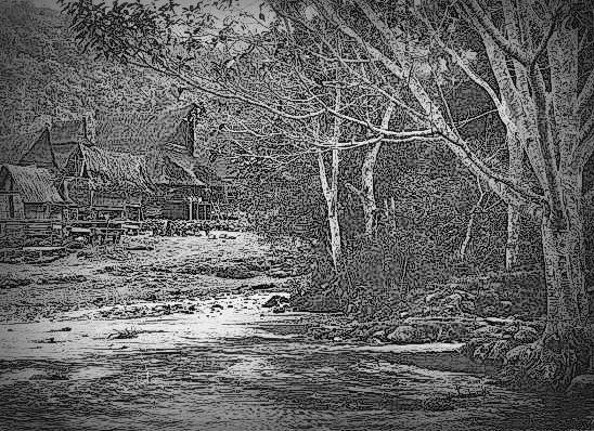 ilustrasi perkampungan Karo di tepi sungai