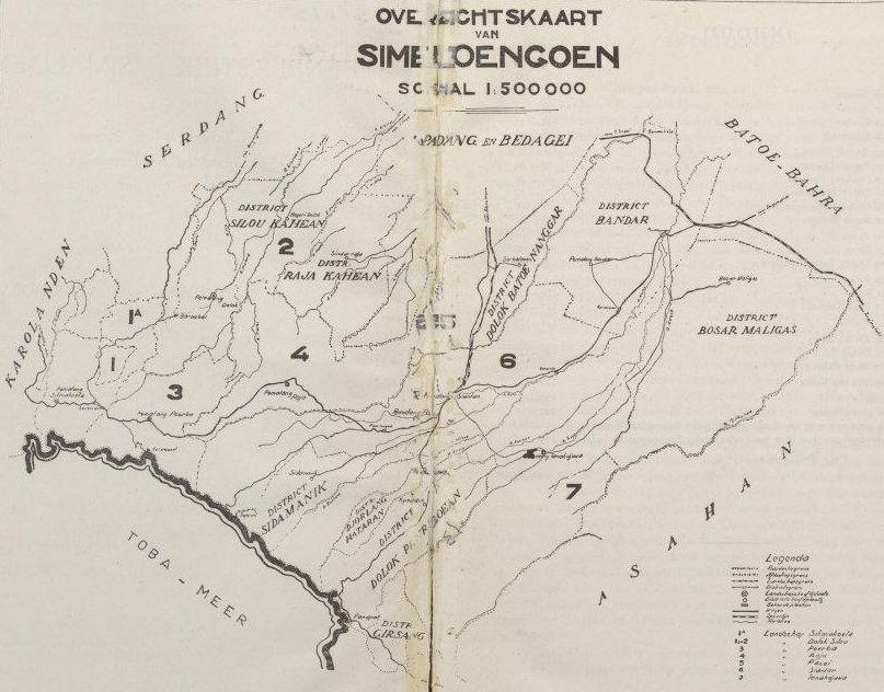 Peta Simalungun tahun 1938. Dari buku Steenplastiek in Simaloengoen