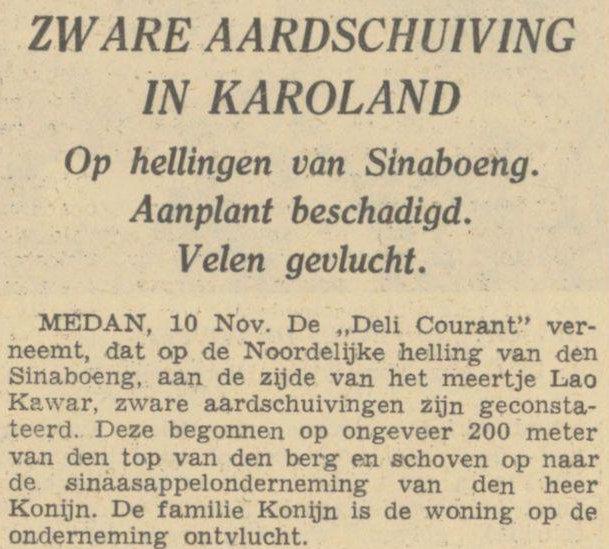 Longsor di dataran tinggi Karo. Harian Algemeen Handelsblad tanggal 10-11-1939