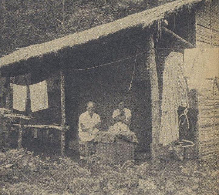 Awal tempat tinggal. Dapat dilihat dengan jelas rumah bertiang kayu pakis, dinding berbahan bambu, dan atap dari ilalang kering..