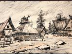 """Ilustrasi : lukisan """"Sebuah desa di Karo (1913)."""" Pelukis Max Fleischer."""