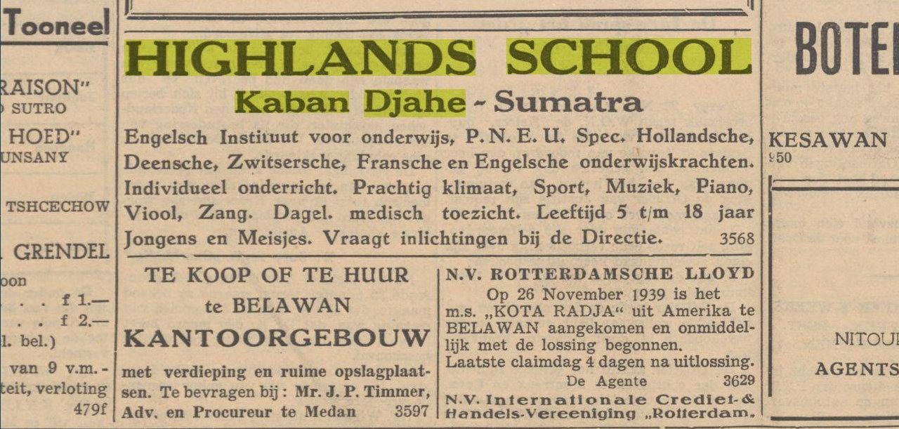 Iklan Highlands School Kabanjahe