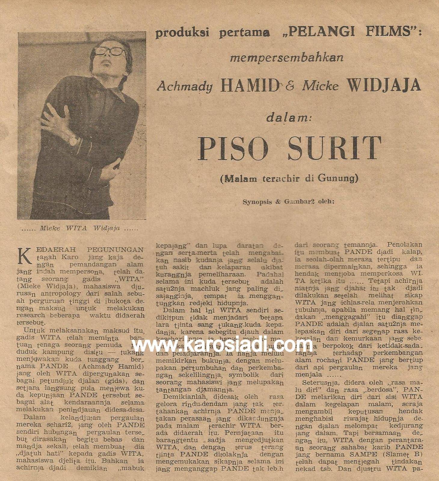 Sinopsi Film Piso Surit di Majalah Tri Bakti Wanita No.3 tahun ke I, 1961