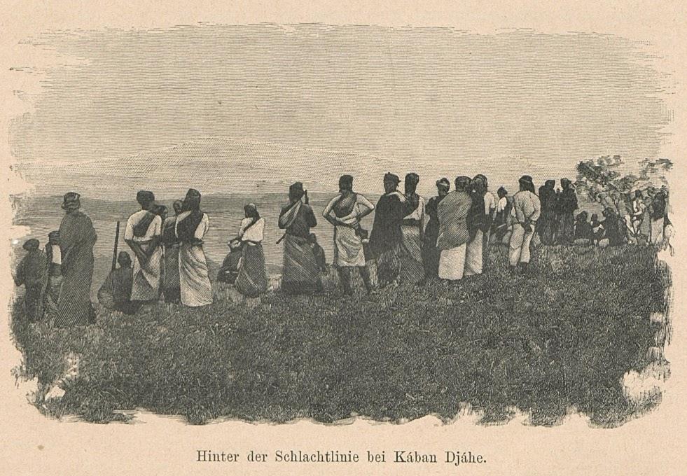 "Ilustrasi : di belakang garis pertempuran di Kaban Djahe. Dari buku Joachim Freiherr von Brenner tahun 1894 berjudul ""Besuch bei den Kannibalen Sumatras"""